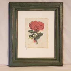 Vintage Framed Art Print of Bedding Geranium